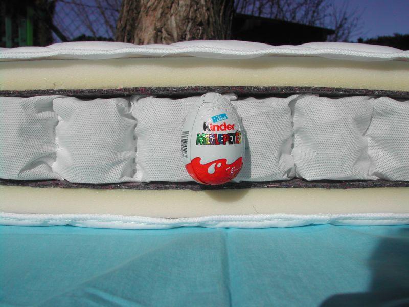 táskarugós matrac keresztmetszete, egy kinder tojással szemléltetve a rugók magasságát